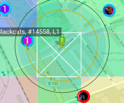take range circle with 1 badge within